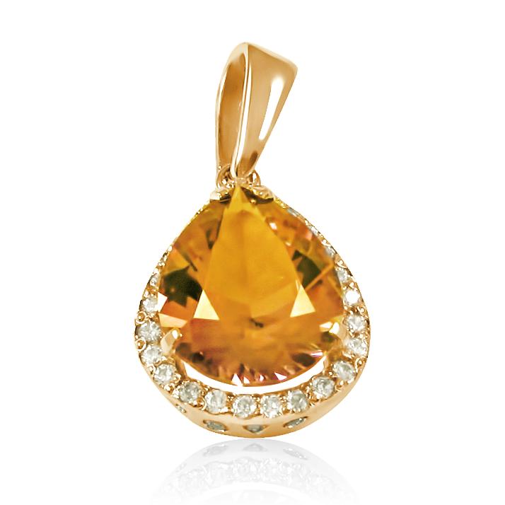 Золотой кулон с цитрином «Стихия»