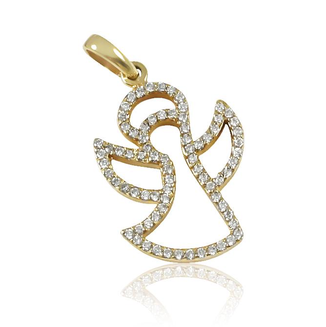 Золотий кулон з діамантами «Angel»