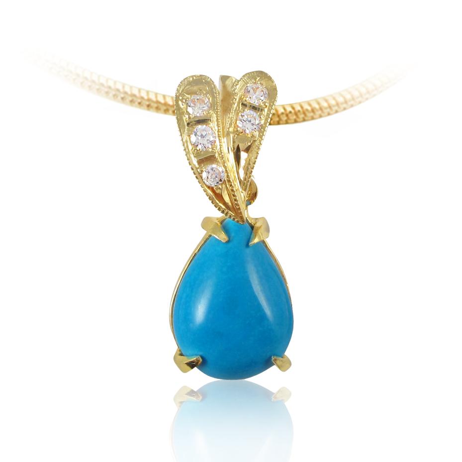 Золотий кулон з бірюзою «Небесна нескінченність»