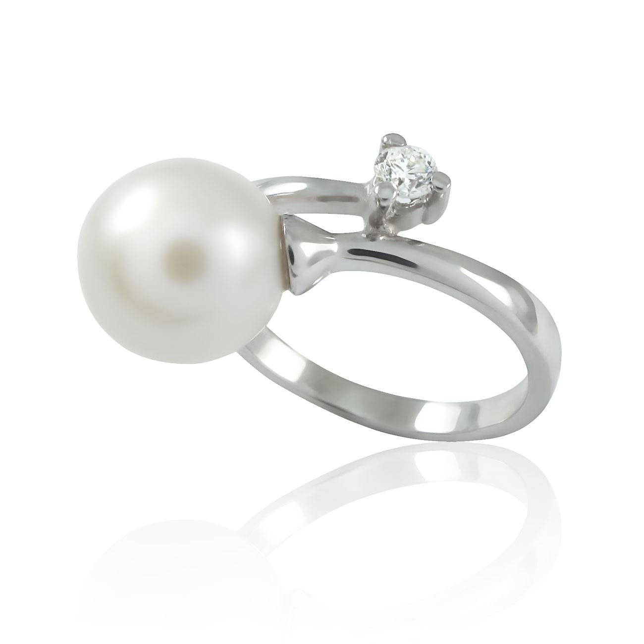 Золоте кільце з перлиною і діамантом «Перлинка»