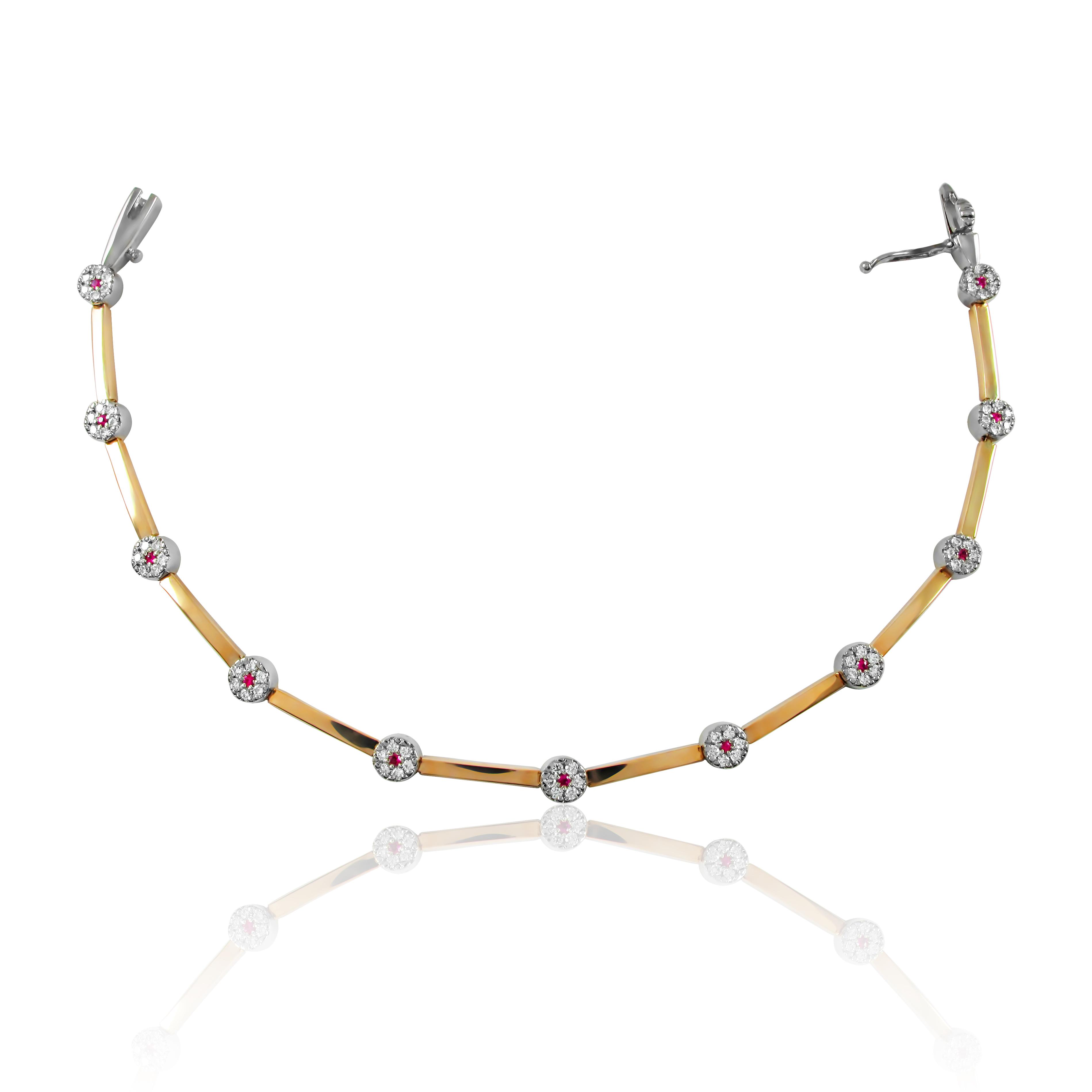 Золотий браслет з діамантами і рубінами «Дорогоцінний гіпюр»