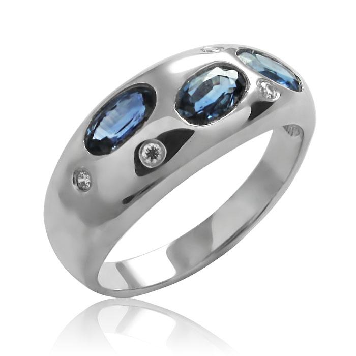 Золоте кільце з сапфірами і діамантами «Озеро Вікторії»