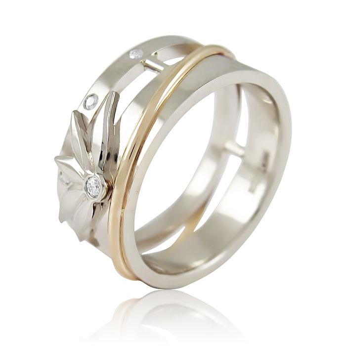 Золота обручка з діамантами «Квітка лотоса»