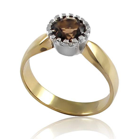 Золотое кольцо с раухкварцем «Viki»