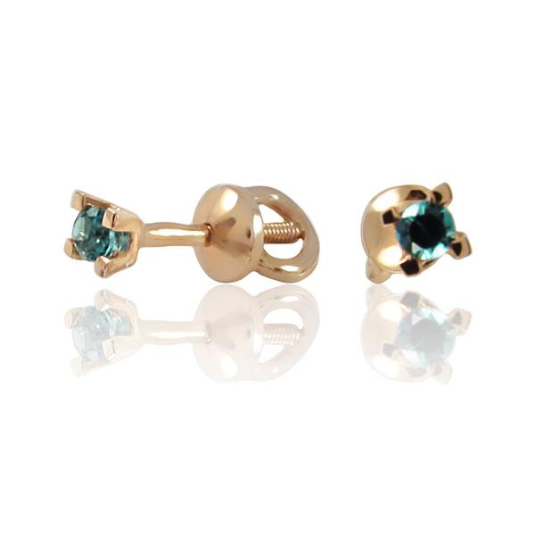 Золоті сережки-гвоздики з смарагдом «Жизель»