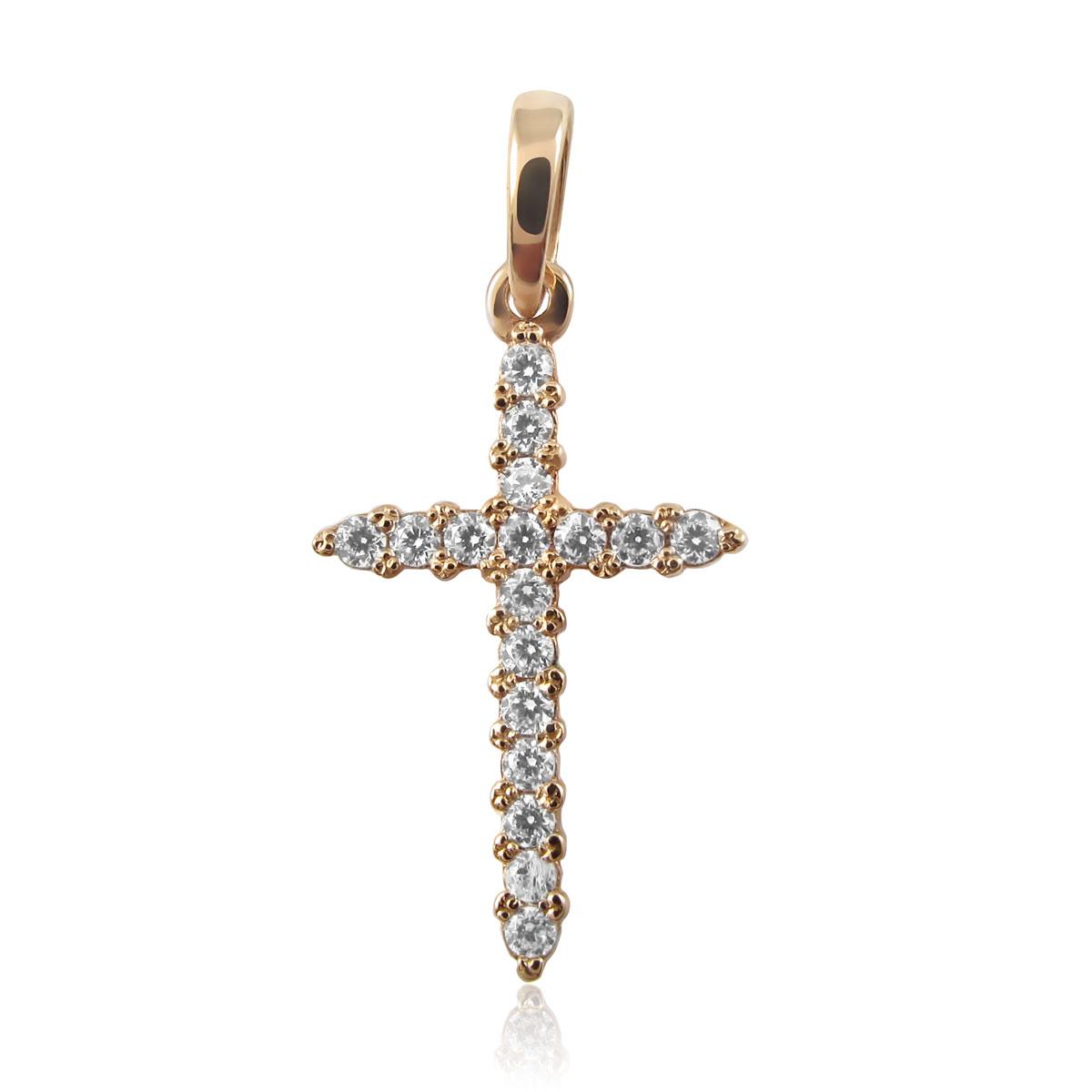 Золотий кулон-хрестик з цирконієм «Єва»