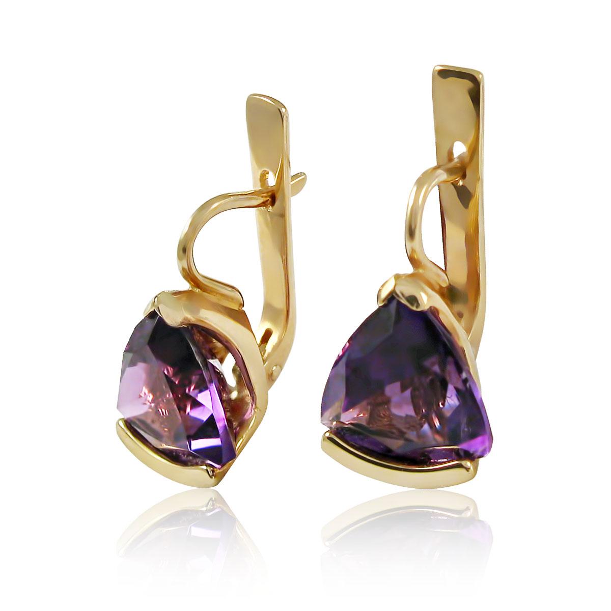 Золоті сережки з аметистом «Ненюфар»