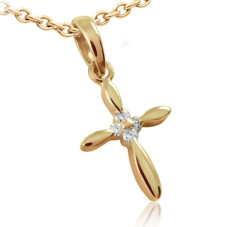 Золотой крестик с бриллиантами «Айленд»