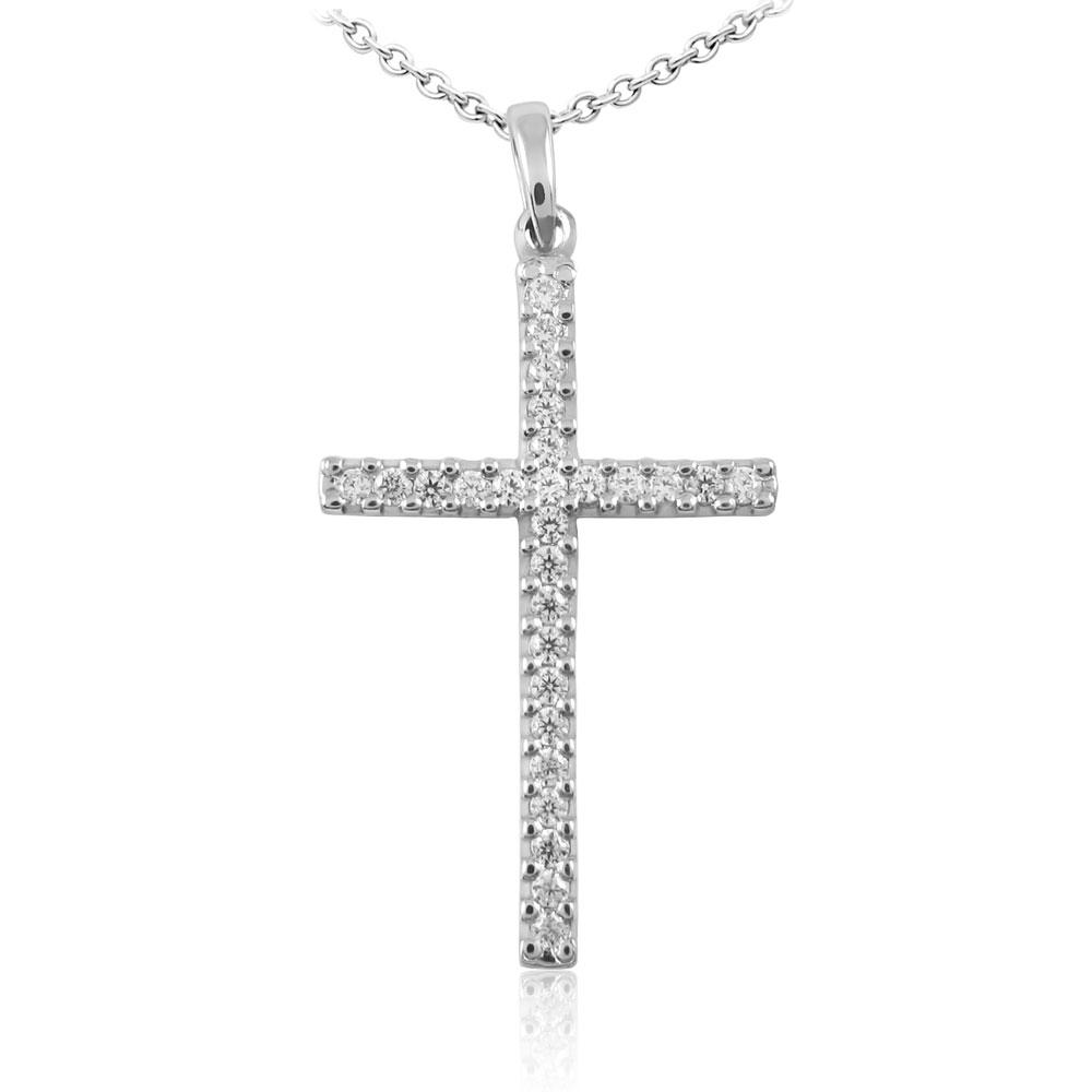 Золотой кулон-крестик с цирконием «Мари»