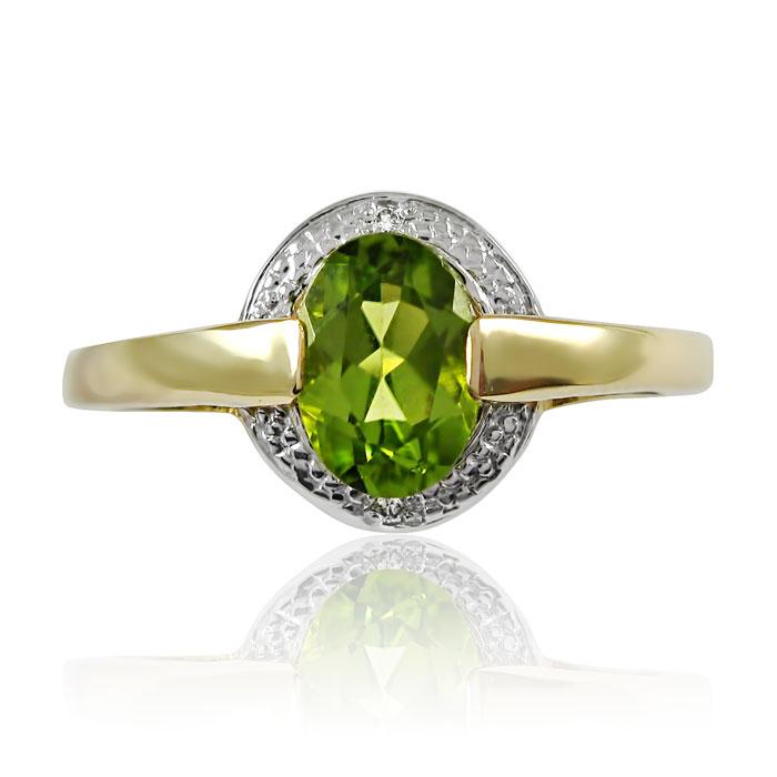 Золоте кільце з хризолітом і діамантами «Василиса»