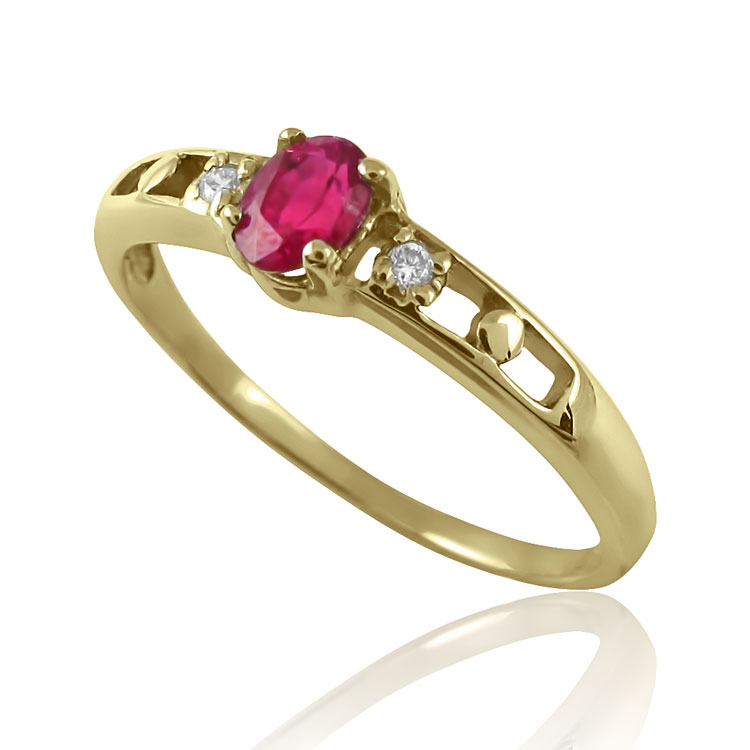 Золоте кільце з рубіном «Діна»