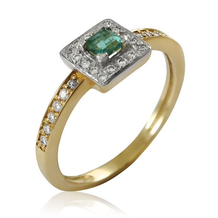 Золоте кільце зі смарагдом і діамантами «Pret-a-porte»