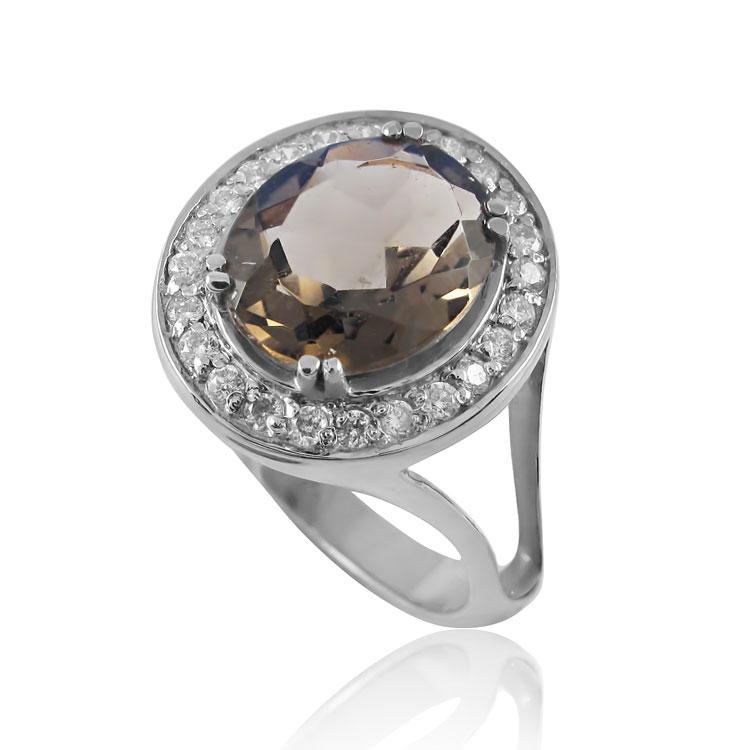Золотой перстень с крупным раухтопазом «Никозия»