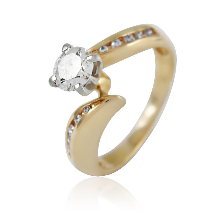Золотое кольцо с фианитом на помолвку «Snowy Queen»