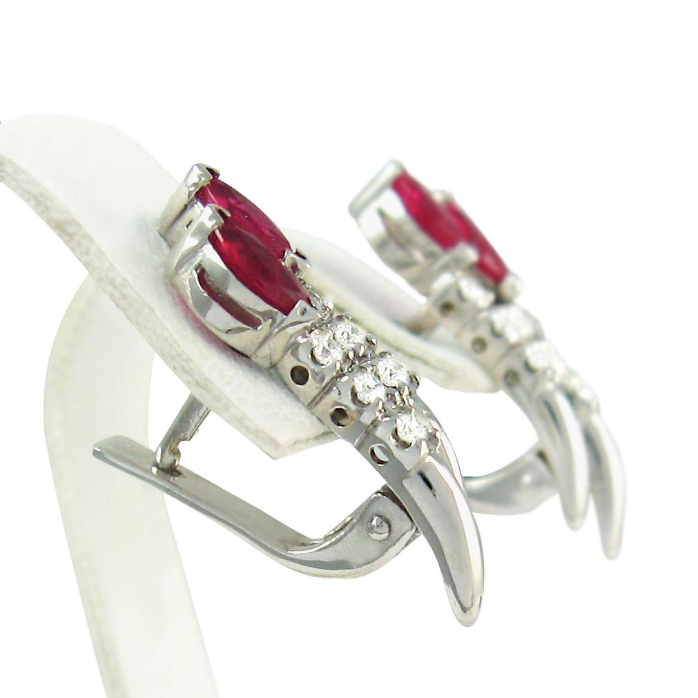 Золоті сережки з рубінами і діамантами «Вікторія»
