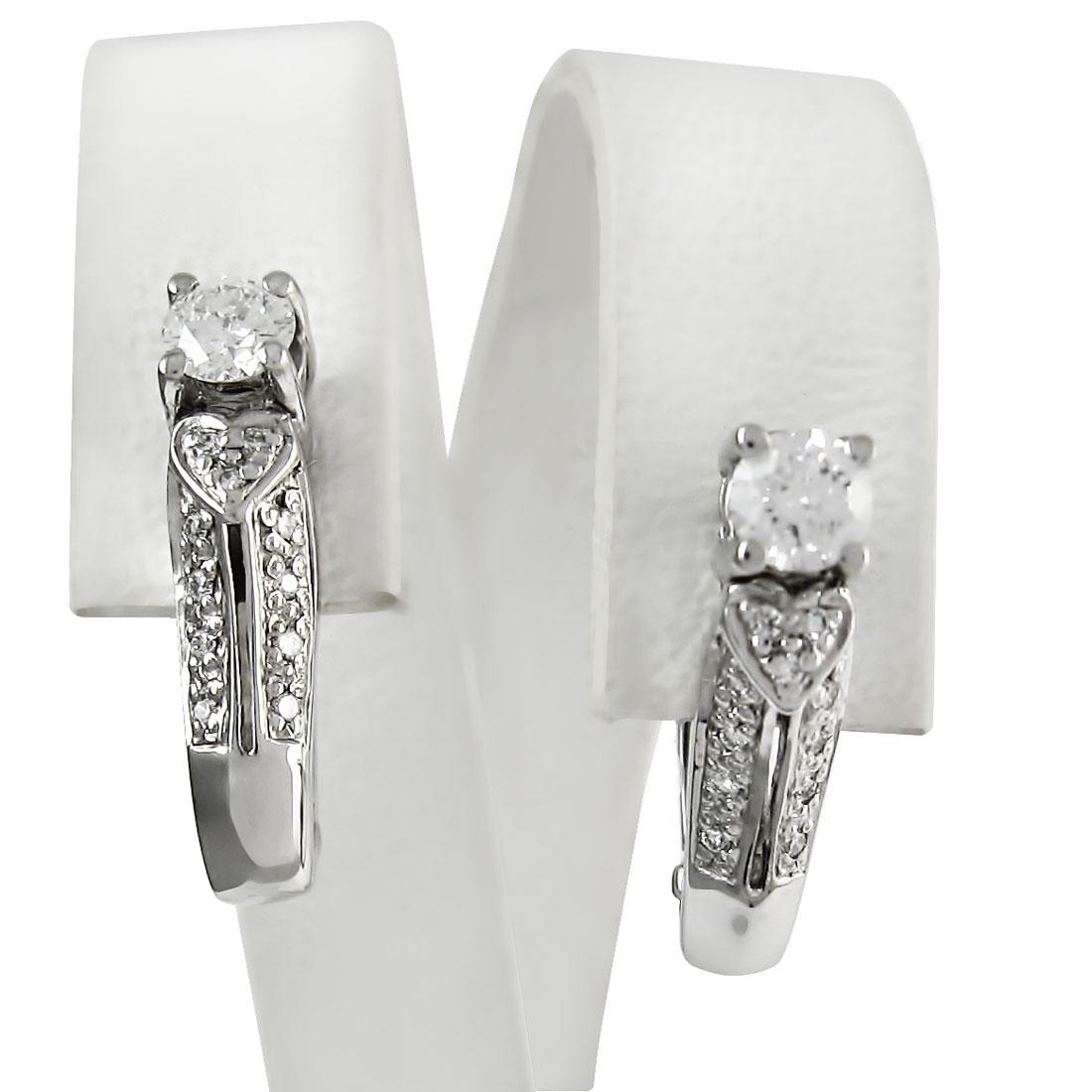 Золоті сережки з діамантами «Біле серце»