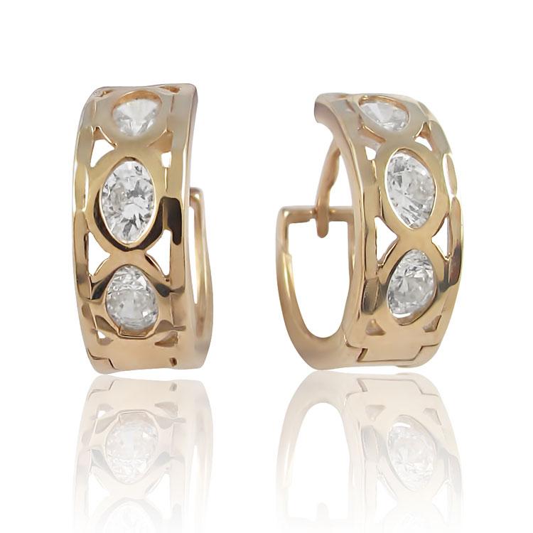 Золоті сережки з цирконієм «Діва»