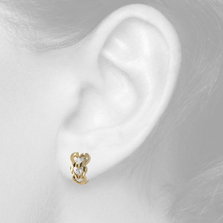 Золоті сережки з фіанітом «Коханій»