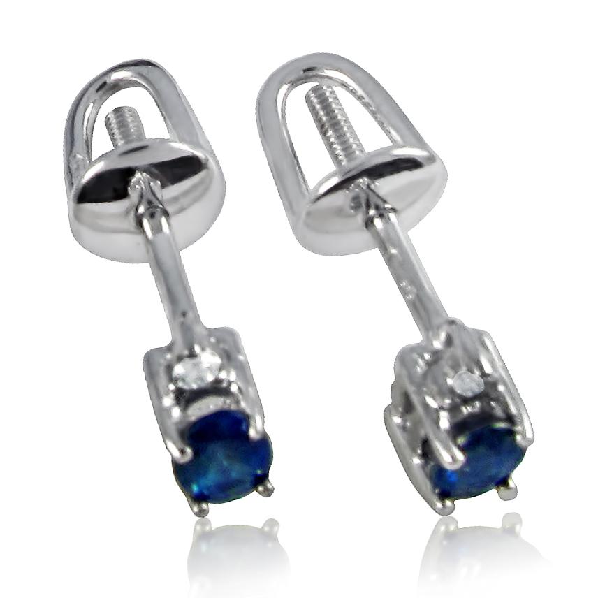 Золоті сережки з сапфіром і діамантами «Камелія»