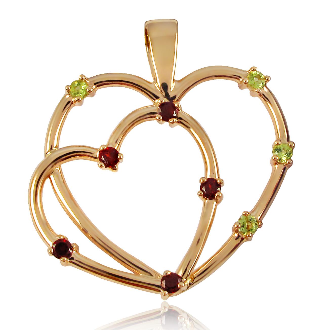 Золотий кулон «Два серця»