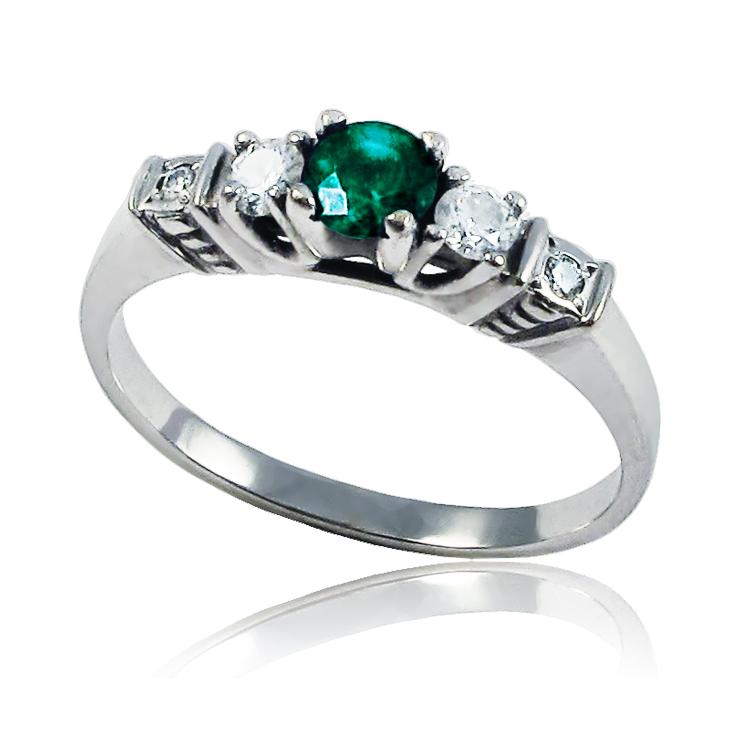 Золотое кольцо с изумрудом и бриллиантом «Silence»