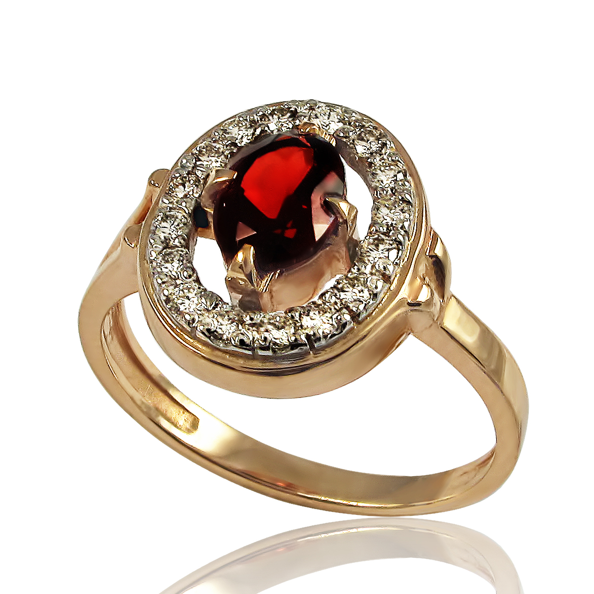 Золотое кольцо с гранатом и бриллиантами «Сочный гранат» (