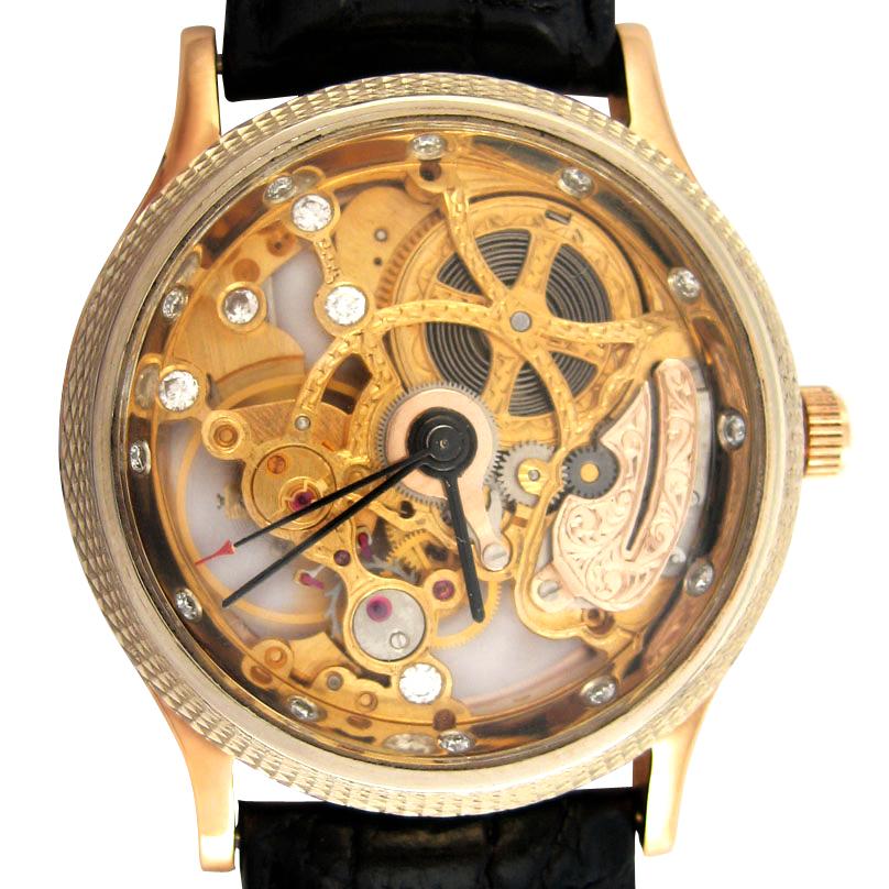 Золотий годинник «Skeleton» з діамантами