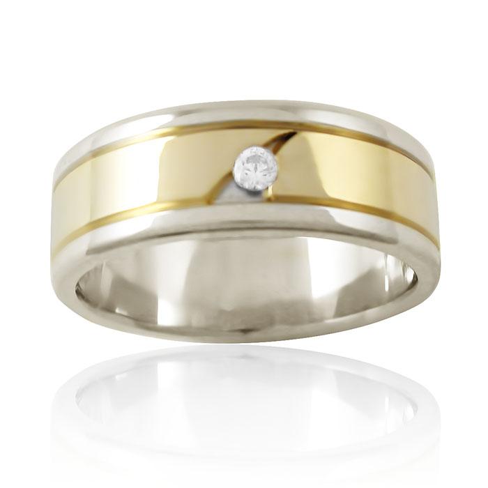 Золотое обручальное кольцо американка с бриллиантом