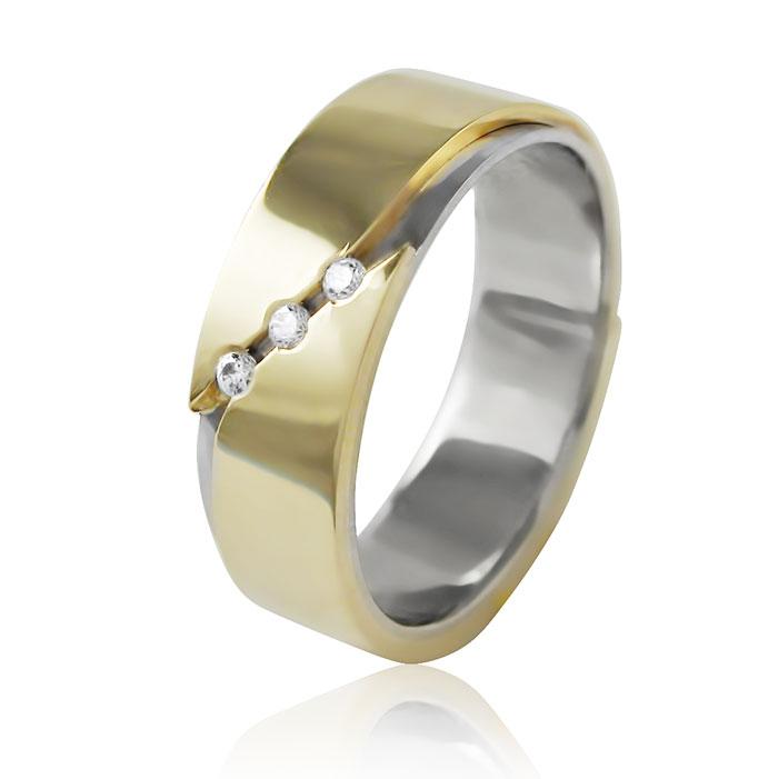 Золотое обручальное кольцо с 3 бриллиантами