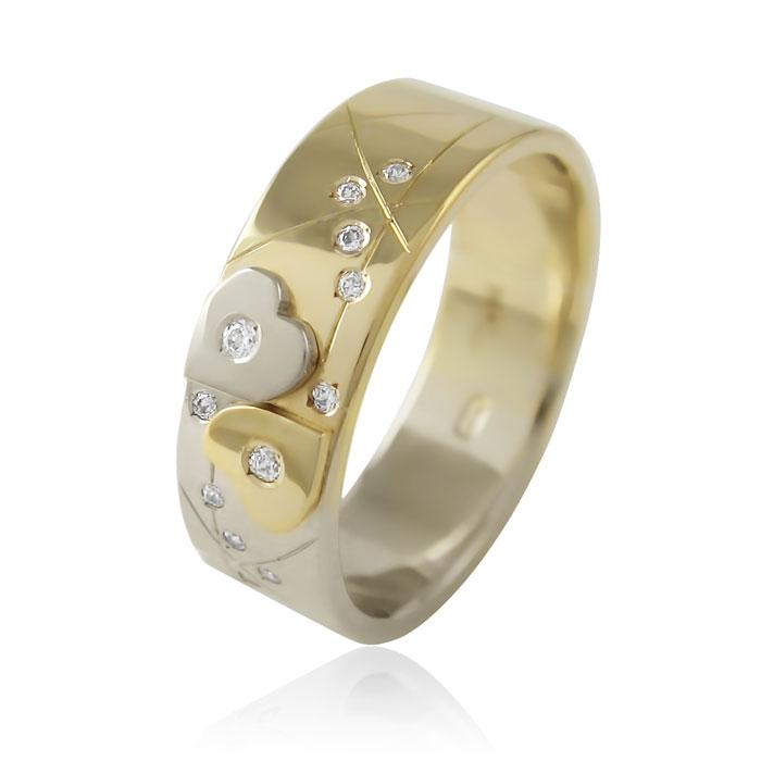 Золота обручка з діамантами «Two hearts I»