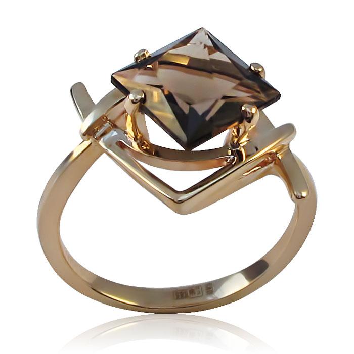Золоте кільце з раухтопазом «Димчаста зірка»