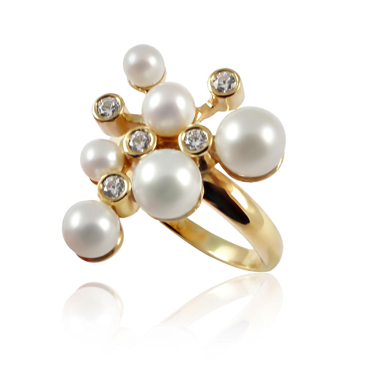 Золоте кільце з перлинами «Бризки шампанського»