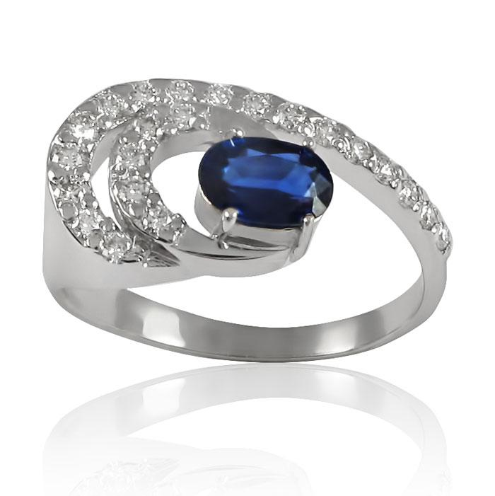 Золоте кільце з сапфіром і діамантами «Казка»