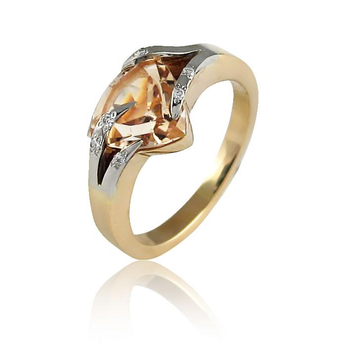 Золоте кільце з топазом «Мадера»