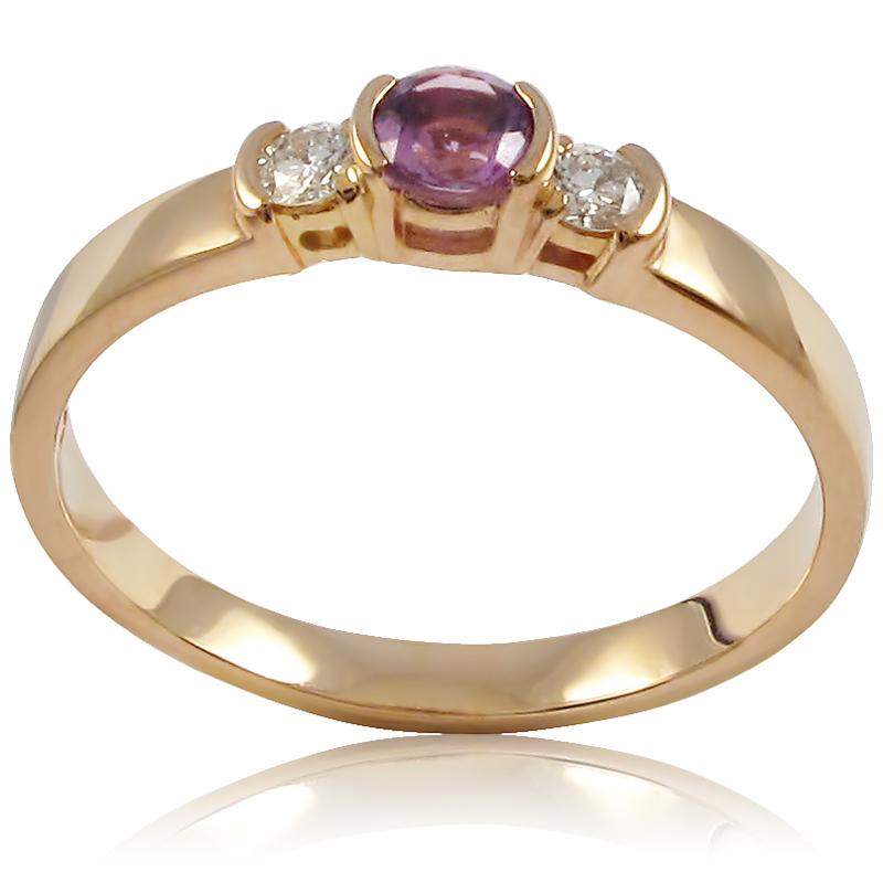 Золоте кільце з аметистом і діамантами «Ніжна фіалка»