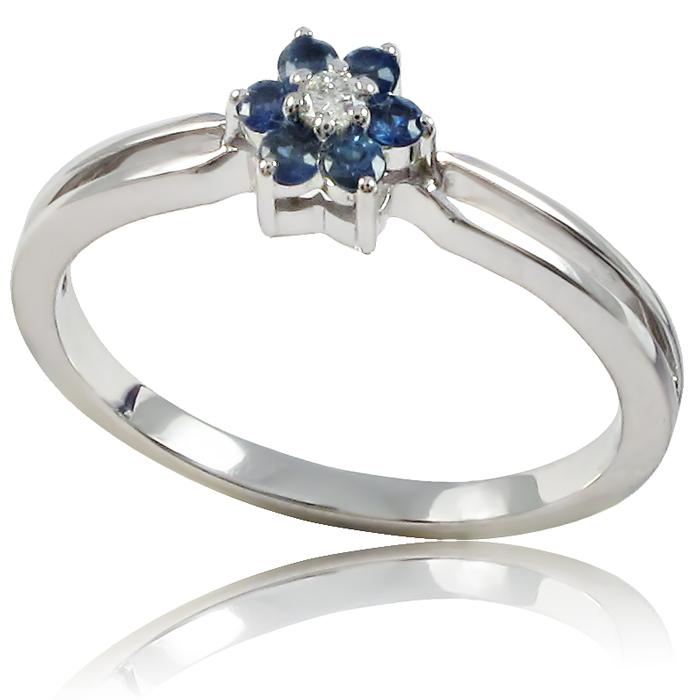 Золоте кільце з діамантом і сапфіром «Моніка»