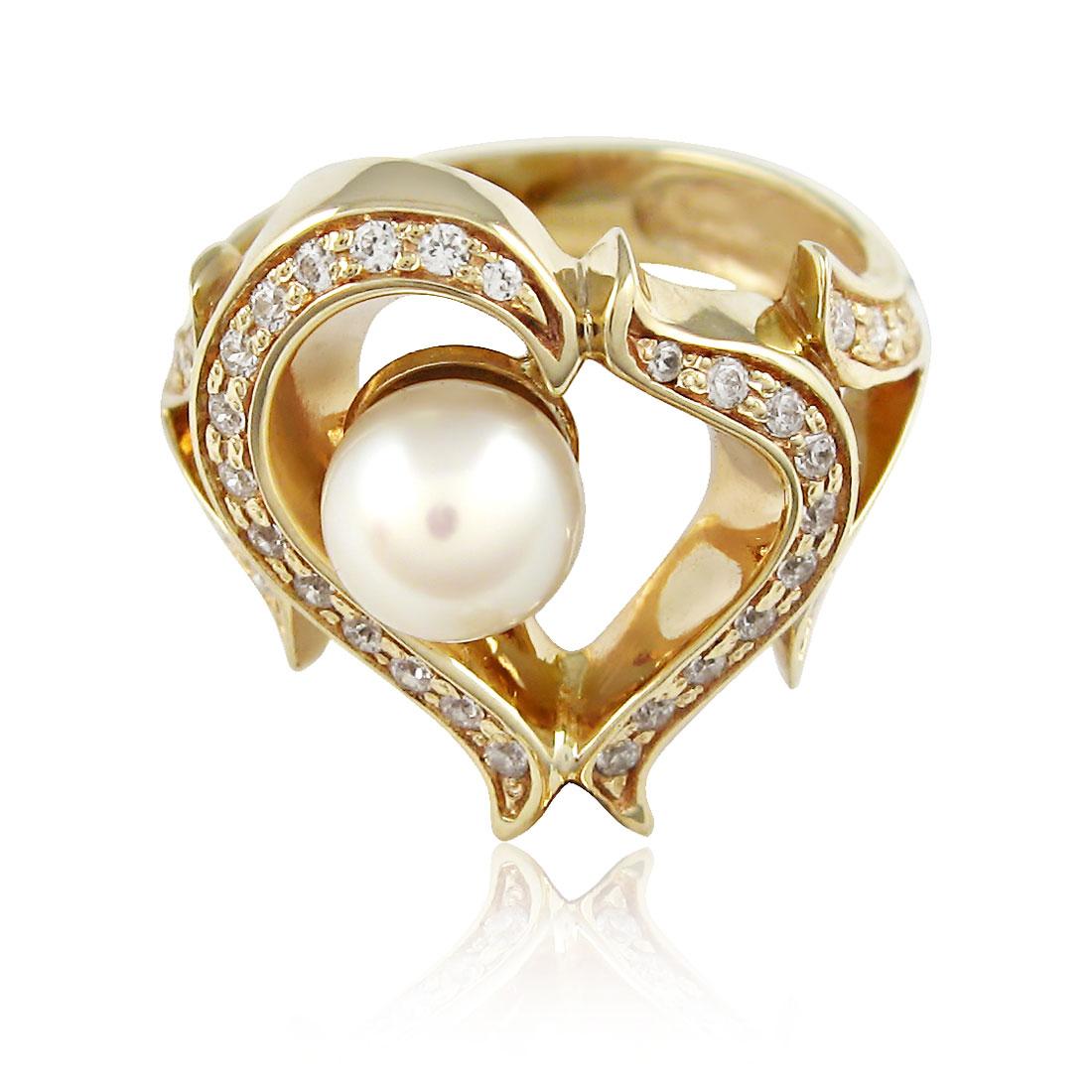 Золоте кільце з перлинами «Весільний настрій»