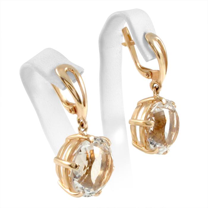 Золоті сережки з гірським кришталем «Кришталеве диво»
