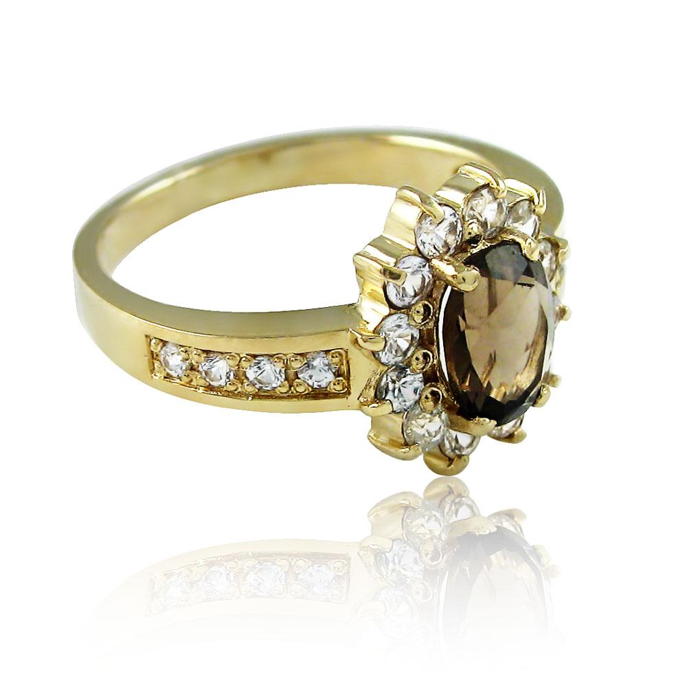 Золоте кільце з раухтопазом «Ніжне озеро»