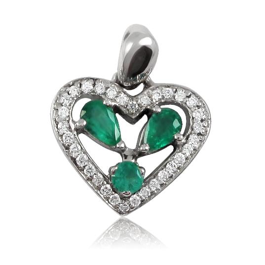 Золотой кулон с бриллиантами и изумрудами «Изумрудное сердце»