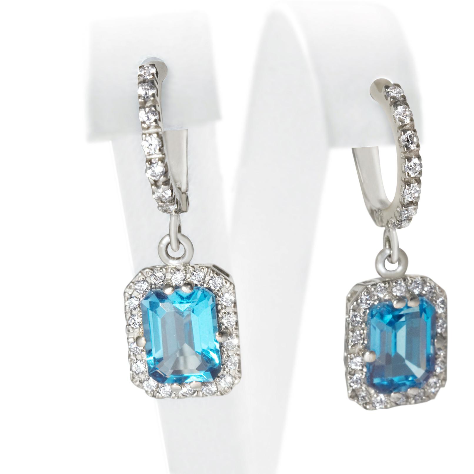 Золоті сережки з топазом  «Блакитна лагуна»