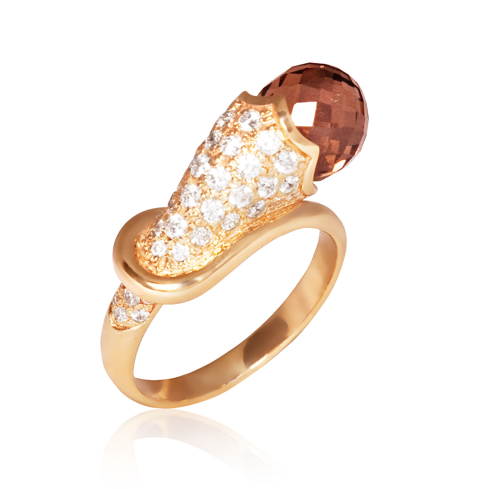 Золоте кільце з раухтопазом «Christiana»