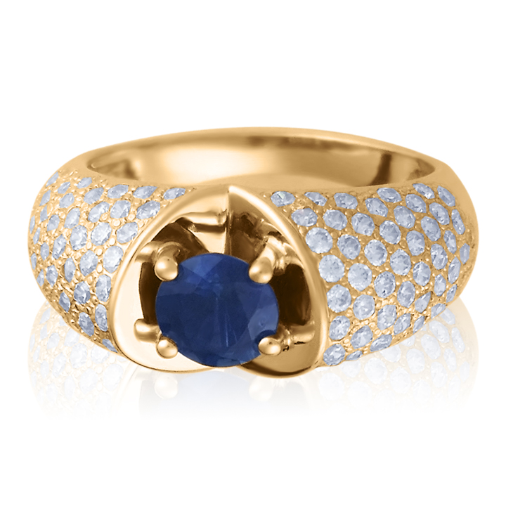 Эксклюзивный перстень с цирконием и крупным сапфиром 1 Карат «EscaLa»