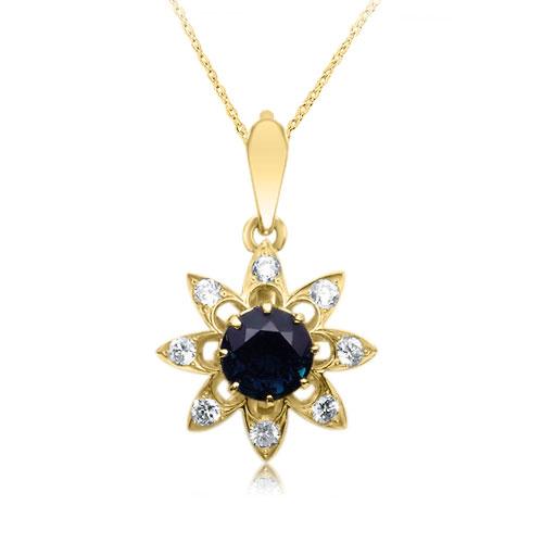 Ексклюзивний кулон з сапфіром 1 карат і діамантами «Одкровення»