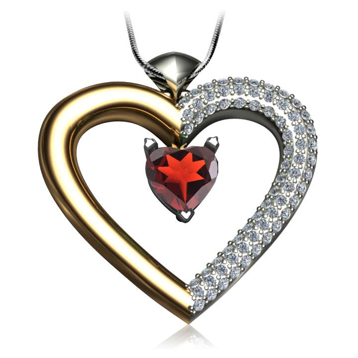 Золотий кулон-серце з гранатом і фіанітами «Loving heart»