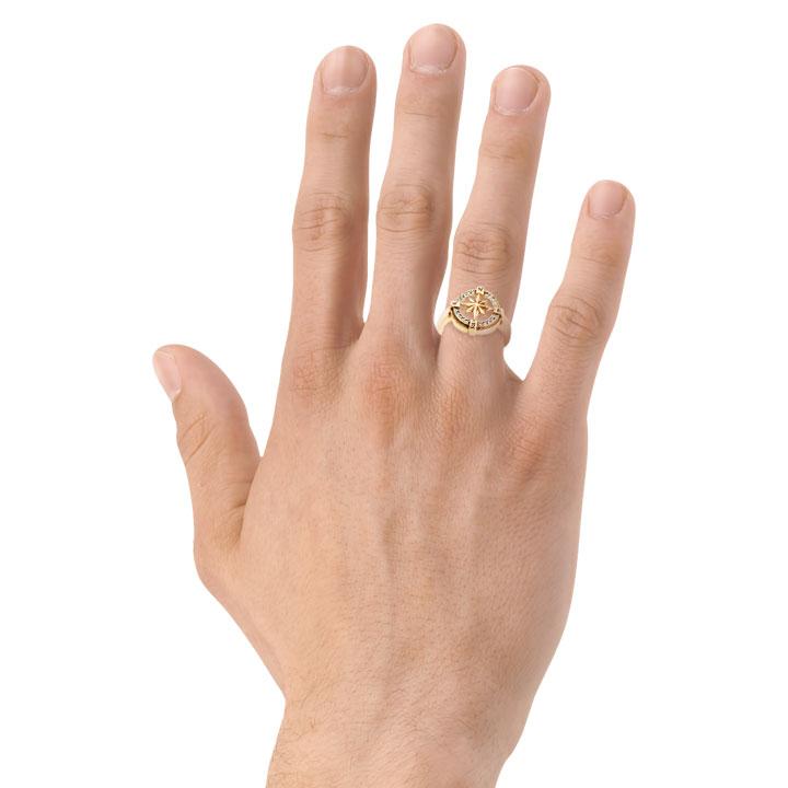 Мужская золотая печатка «Компас Удачи»
