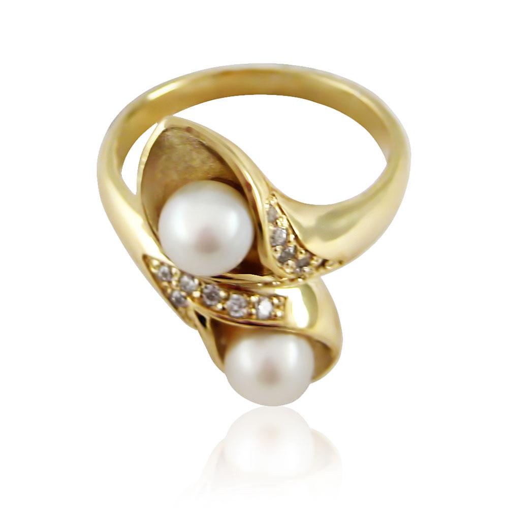 Золоте кільце з перлами «Цариця морська»