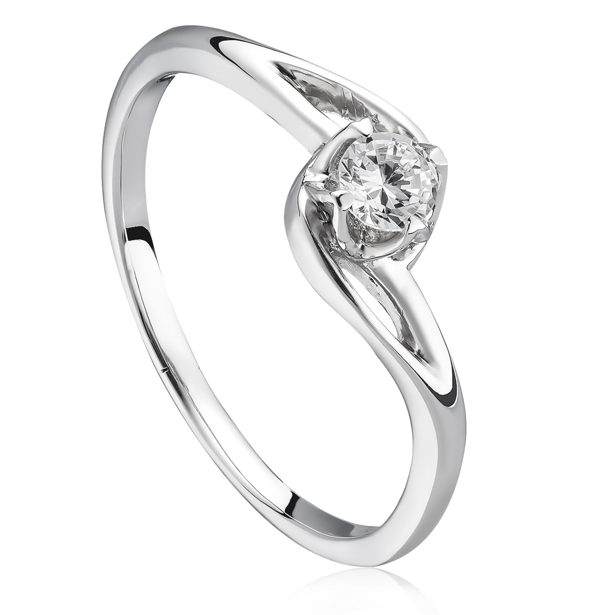 Помолвочное кольцо с бриллиантом 0,15 Ct «Капля росы»