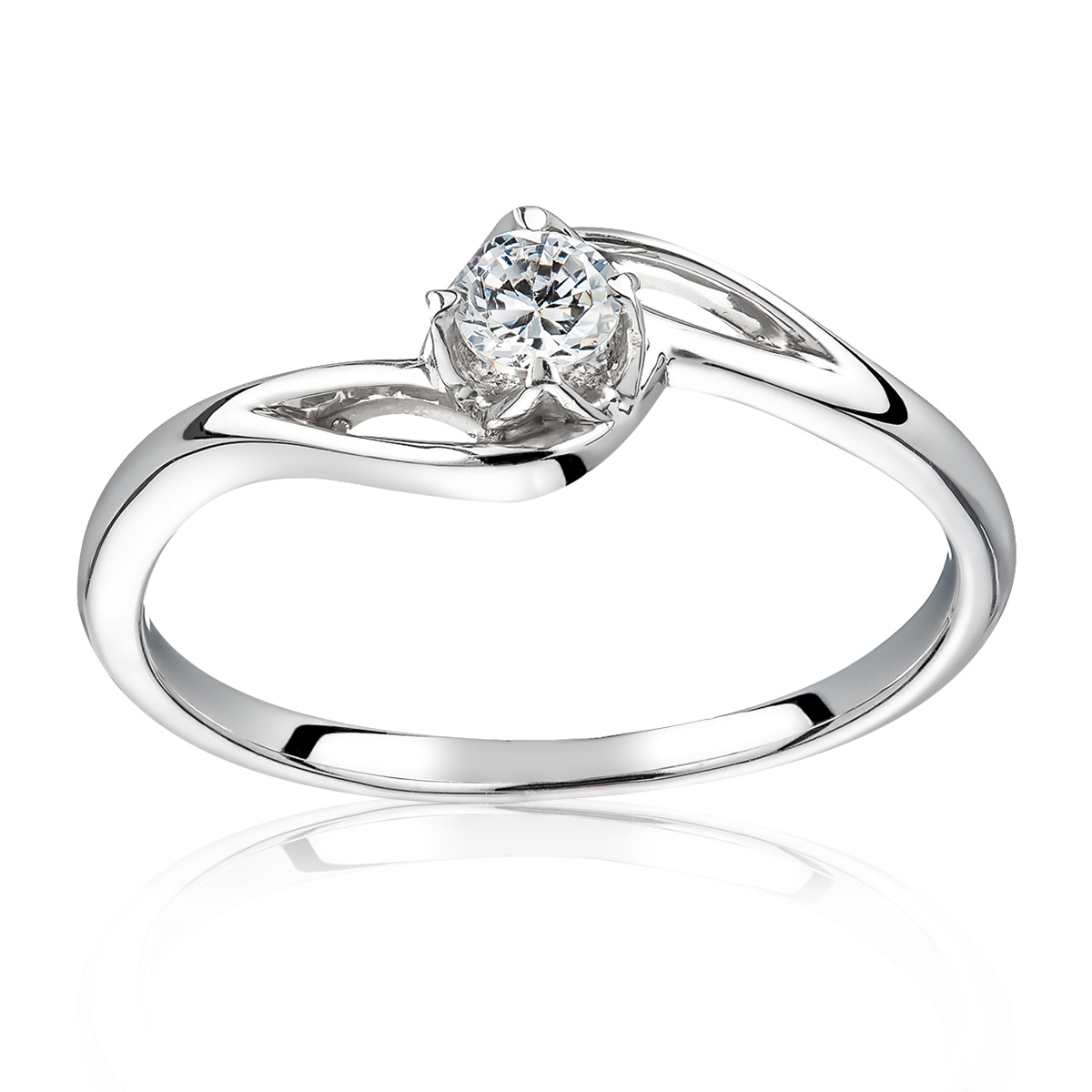 Заручальне кольцо з діамантом 0.15 карат «Крапля роси»