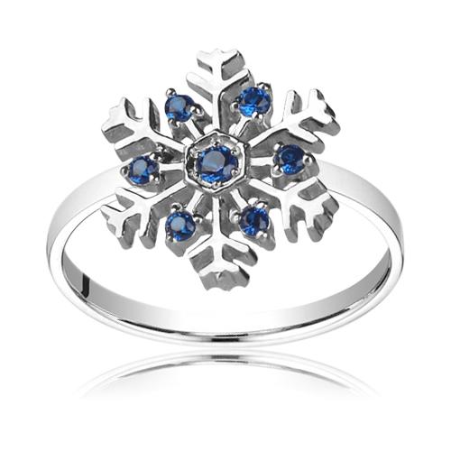 Кольцо с кристаллами Swarovski «Снежинка»